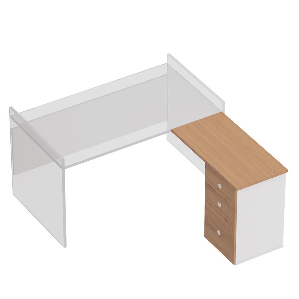 Брифинг-приставка с тумбой 3-ящичной М (1 файловый ящик) с замком левая/правая